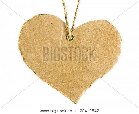 cardboard tag in the form of hearts with flax cord