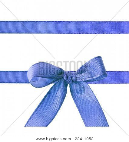 blue ribbon bow isolated on white