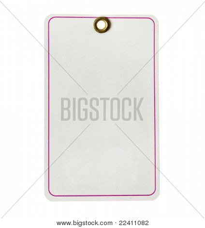 paper tag  with pink stripe  isolated on white