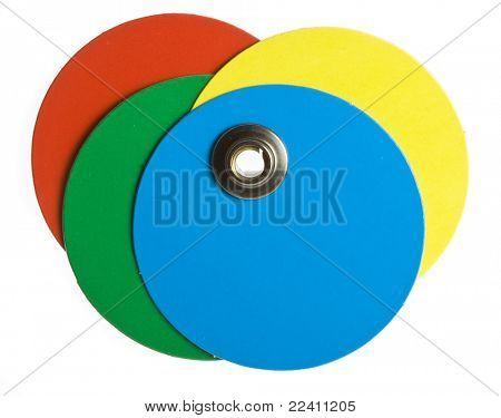 round  colored blank price tag isolated on white