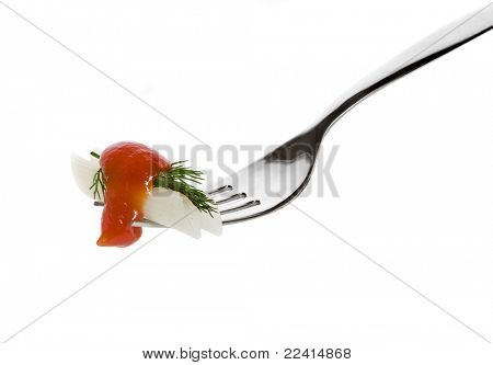 pasta rice flour with tomato sauce to fork isolated on white