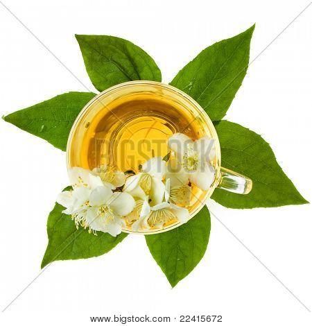 jasmine tea isolated on a white