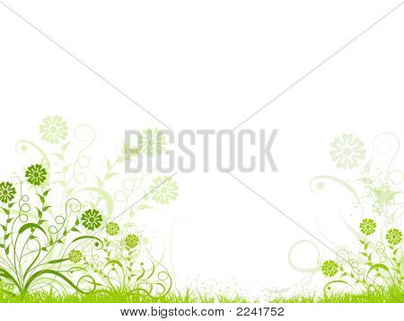 Floral Design In Green