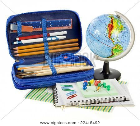 school things,Back to School concept, on white background