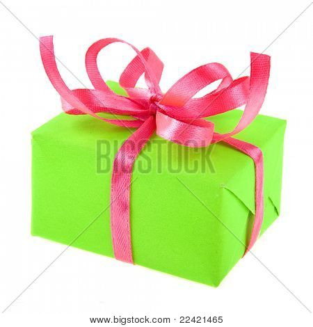 gift box with ribbon bow isolated