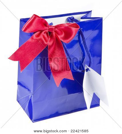 package bag with red ribbon  bows isolated