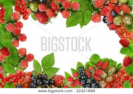 frame of fresh berries isolated on white
