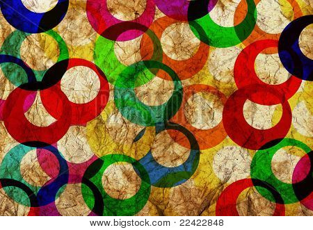 colorfull rings vintage  textured background