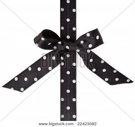 black ribbon bow isolated over white background