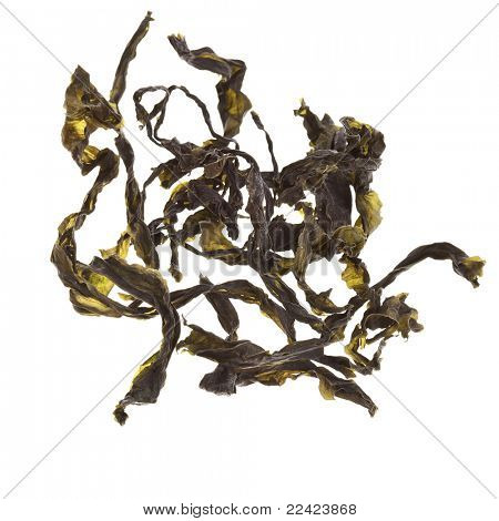 dried seaweed kelp ( laminaria )  isolated on white
