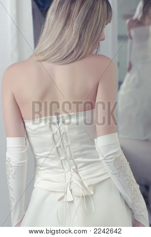 Model Posing In A Wedding Dress