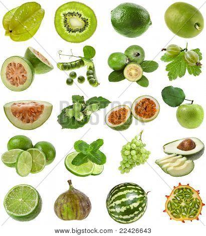 Постер, плакат: зеленый цвет свежие фрукты и ягоды изолированные на белом, холст на подрамнике