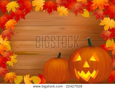 Halloween background with pumpkins. With copy space. Vector illustration.