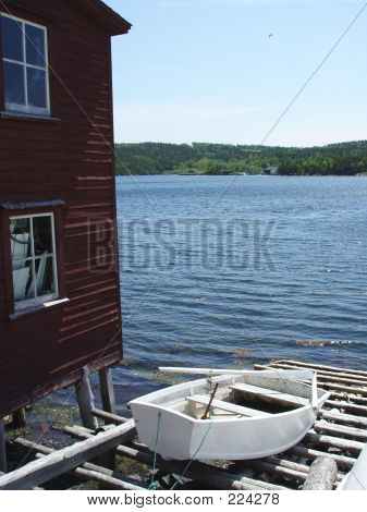 Rural Newfoundland Stage And Boat
