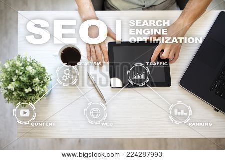 poster of SEO. Search Engine optimization. Digital online marketing andInetrmet technology concept