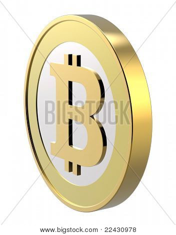 Bitcoin isolated on white. Computer generated 3D photo rendering