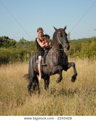 Rearing Stallion, Teen And Child