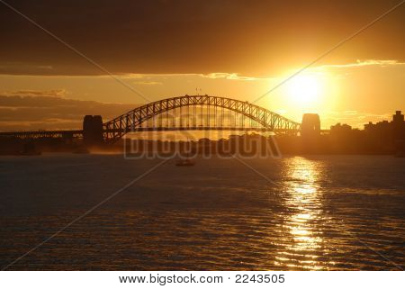 Sydney Harbor Bridge Gold Sunset