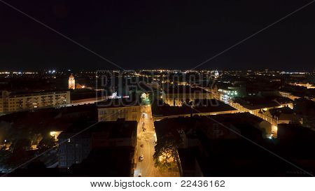 Northern Aerial View Of Szeged At Night