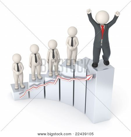Succesful 3d Business Leader - Financial Graph