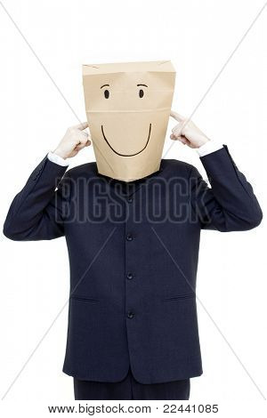 happy businessman with paper bag on his head