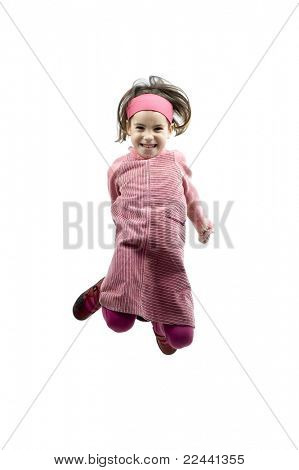 little girl jumping isolated on white