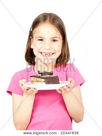 little girl witch chocolate cake isolated on white
