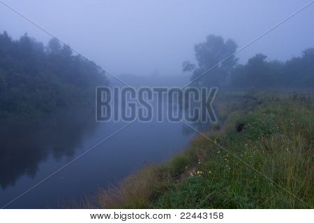 Landscape Mist On The River