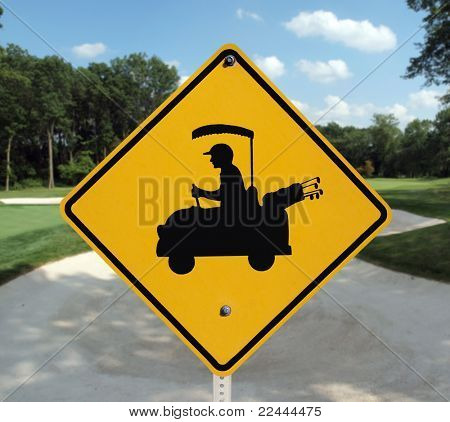 Golf cart crossing sign and sand trap.