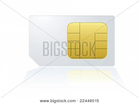 White mobile cell phone sim card with reflection in background