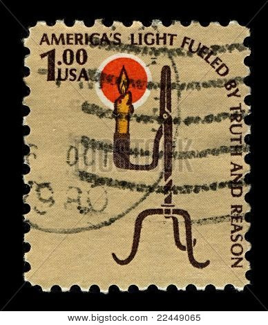 USA-CIRCA 1979:A stamp printed in USA shows image of Keep candles out of the pioneering time, circa 1979.