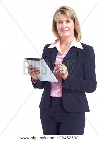 Smiling business woman with ipad. Isolated over white background