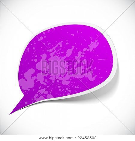 Vector illustration of Purple paper splash speech.