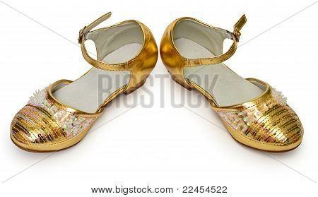 Elegant Golden Shoes For Girl On White
