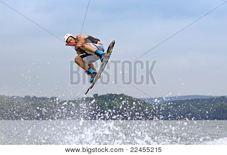 Wakeboarder Jumping High