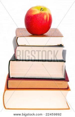 An Apple On A Book Pile