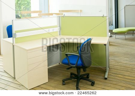 Office Desks And Blue Chairs Cubicle Set