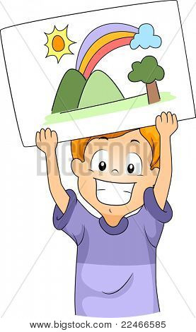 Illustration of a Kid Presenting His Drawing