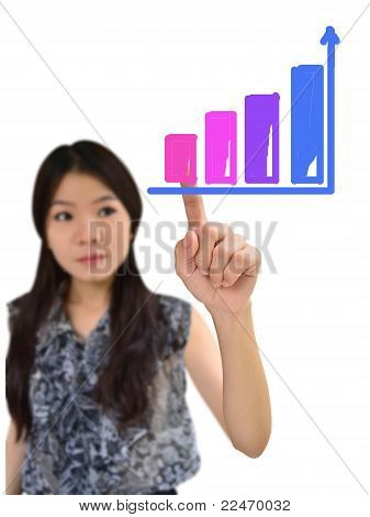 Portrait Of Asian Woman Drawing Graph