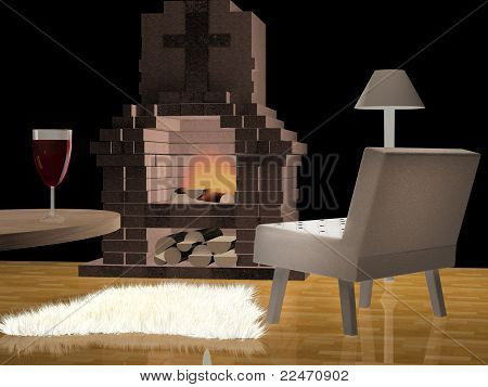 Modern living room with a fireplace