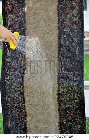Washing rug outside