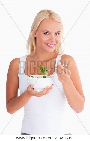 Smiling Lady Eating Salad