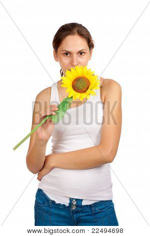 Woman And Sunflower