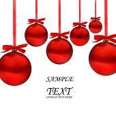 image of card christmas  - Christmas card with red balls and red ribbons with space for your text - JPG