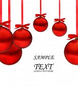 Christmas card with red balls and red ribbons with space for your text