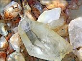 stock photo of precious stones  - raw quartz rocks - JPG