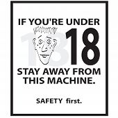 stock photo of buck teeth  - a safety sign that can be used on any piece of equipment that requires someone to be at least 18 years of age in order to operate it - JPG
