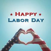 Happy Labor Day Text Message With America Flag Pattern On People Hands In Heart Shaped On Vintage Bl poster