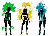 stock photo of pageant  - Vector Illustration for Carnival 3 Silhouettes with different costumes - JPG