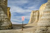 do not climb the rocks sign - Monument Rocks in western Kansas poster